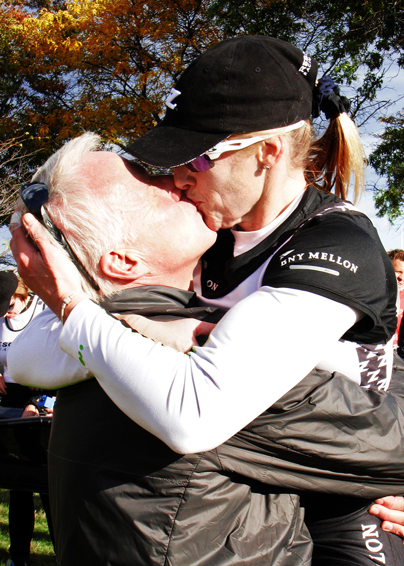 Post-race kiss for the winner