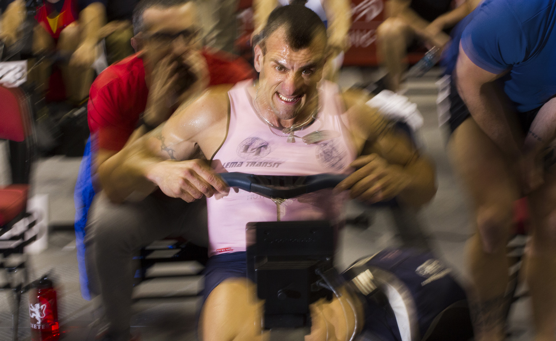Pulling Hard Male Rower Indoor