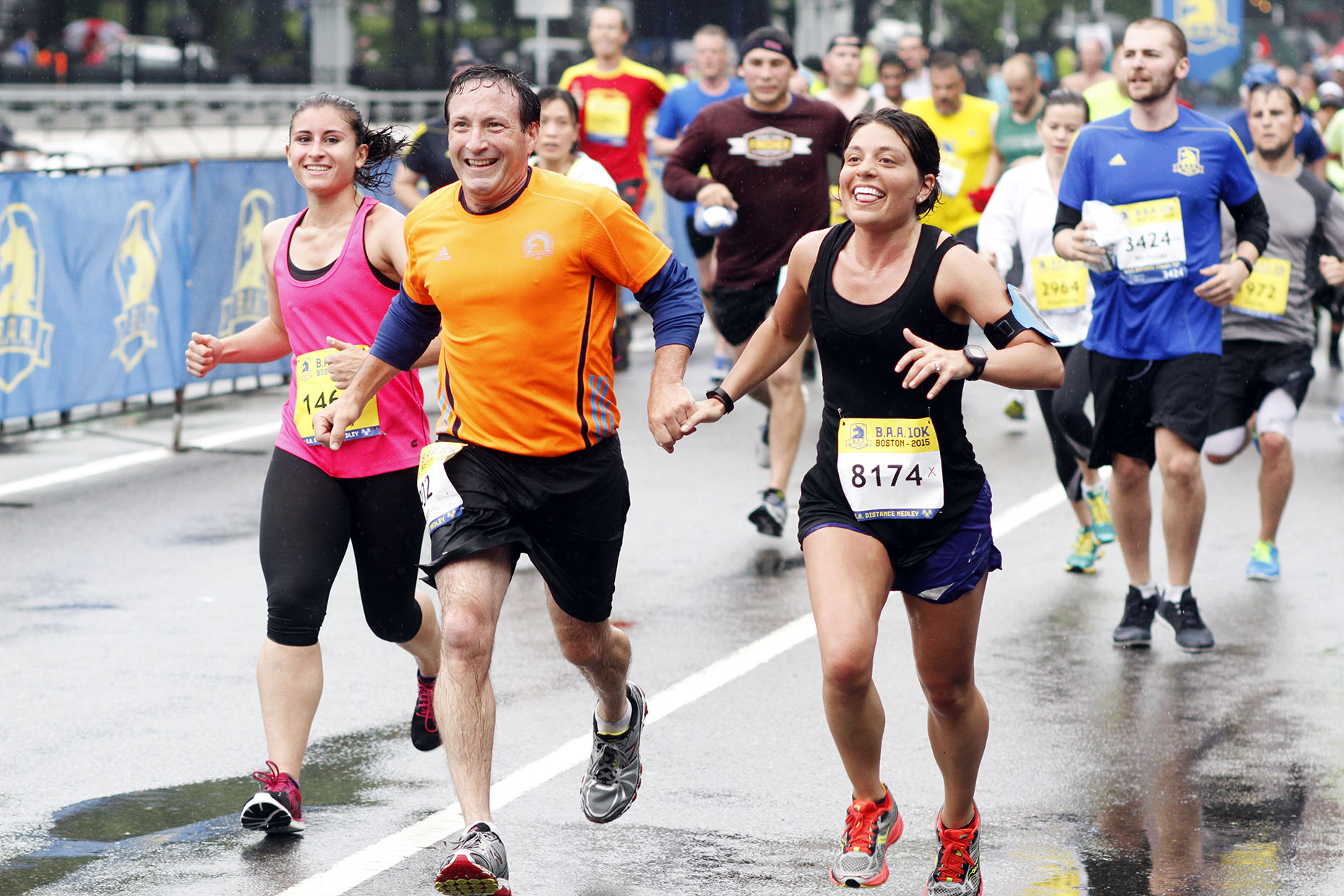 Smiling wet Runners