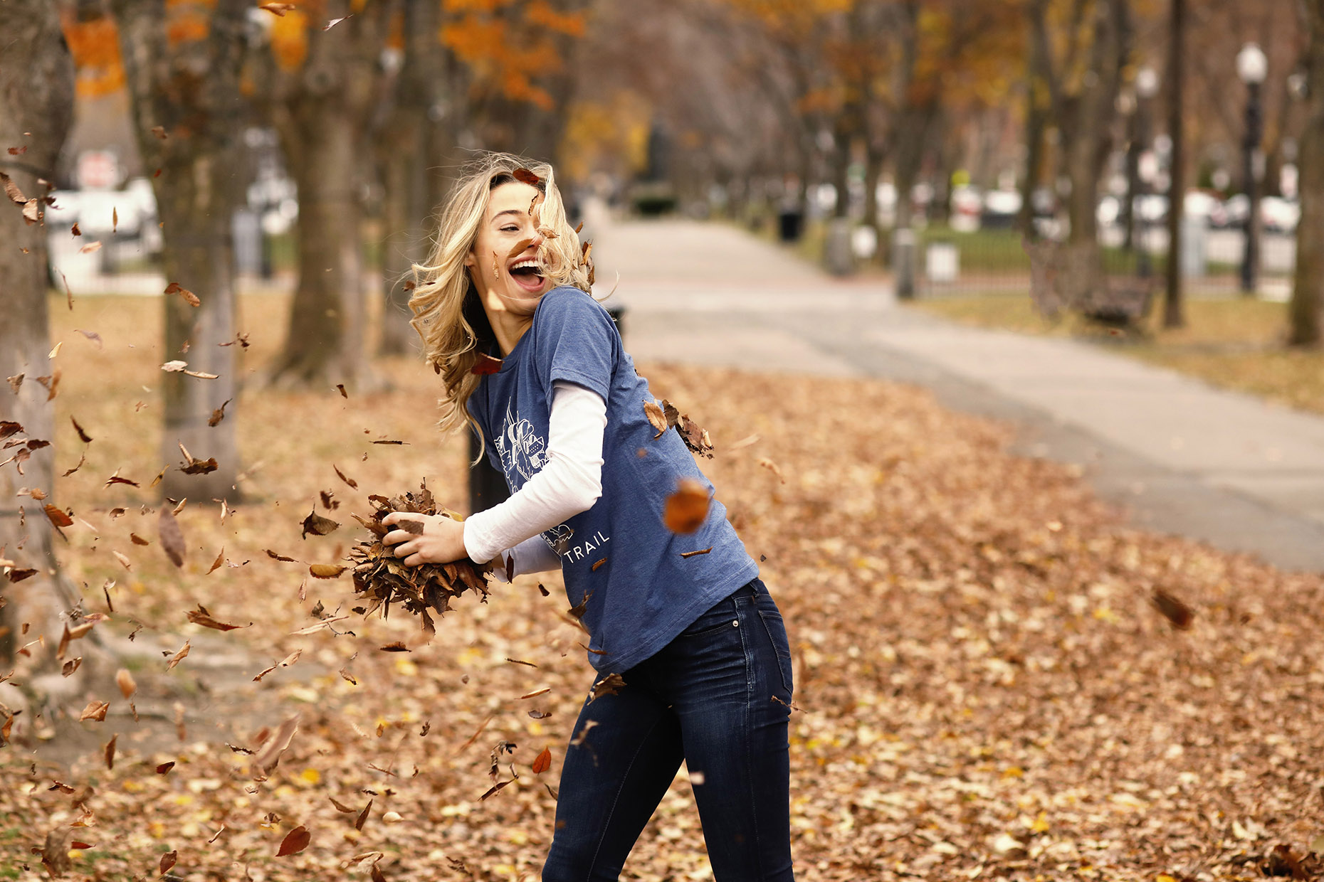 Leaf Fighting Girl Laughing
