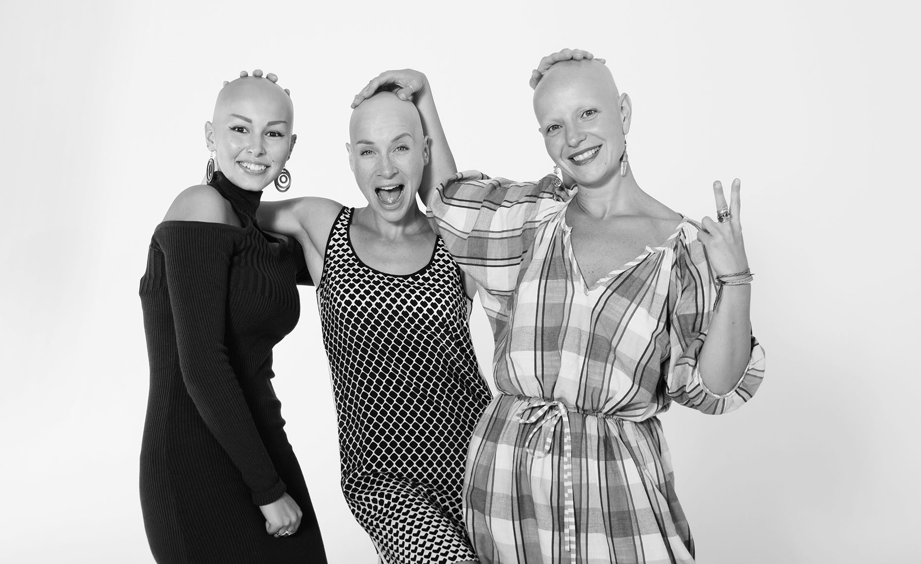 Portrait of Three Happy Bald Women
