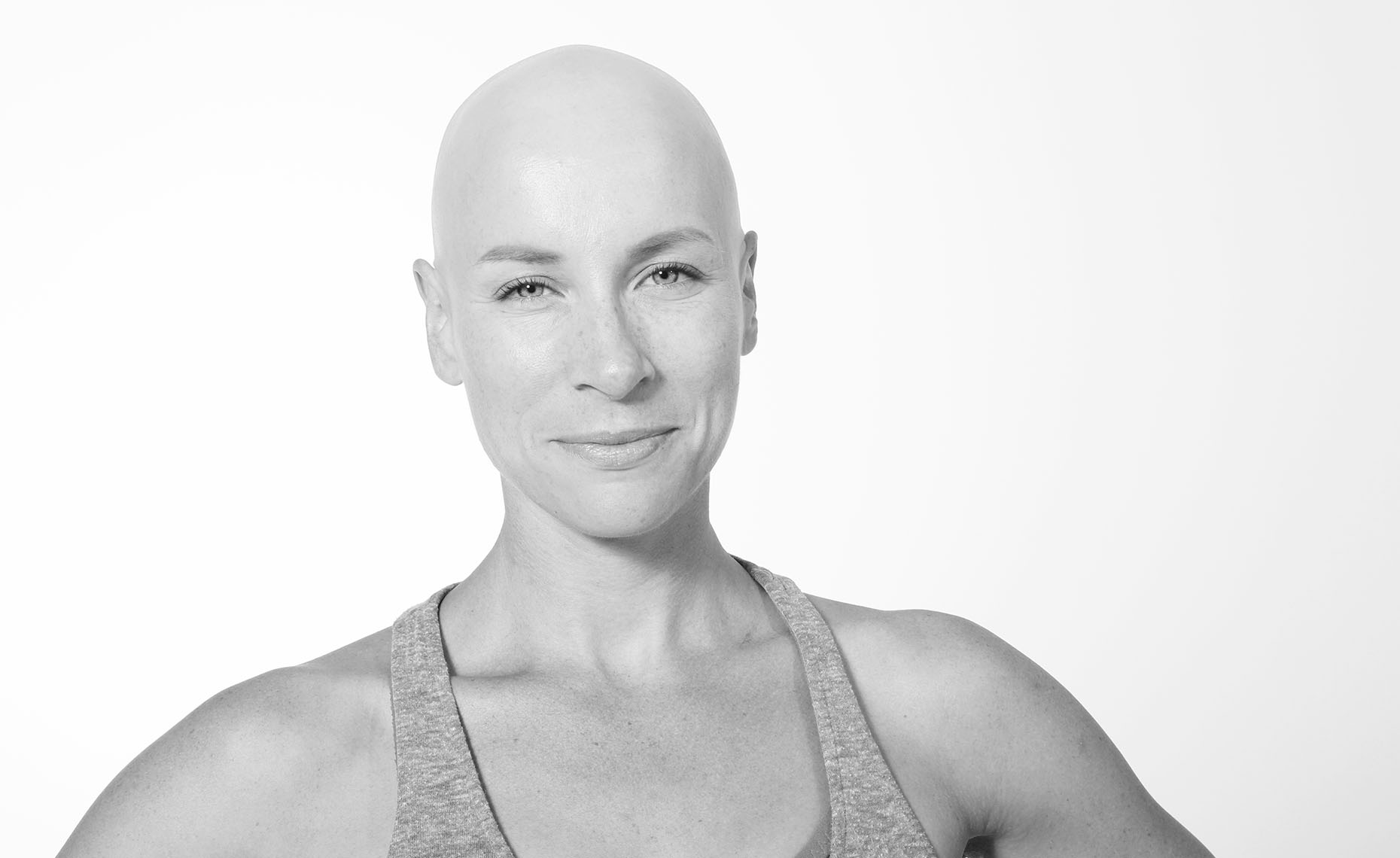 B&W Portrait of A Strong Bald Woman